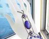 Hand Bracelet Gothic Slave Bracelet Hand Chain Gunmetal Ring Bracelet Purple Glitter Panja Bracelet Victorian Glass Opal