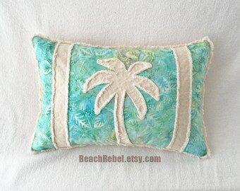 Palm tree bolster pillow cover, aqua leaf batik with green and yellow and natural unbleached denim 12x18 boho pillow cover