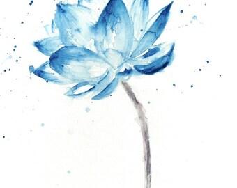 Lotus Print, Lotus Painting, Lotus Flower Wall Art, Lotus Watercolor, Blue Lotus, Watercolor Lotus, Lotus Wall Art, Watercolor Flowers