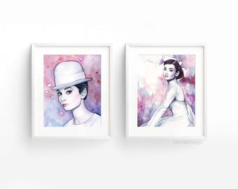 Audrey Hepburn Watercolor Art Prints Audrey Wall Art Audrey Hepburn Painting Purple Home Decor Fashion Wall Art Audrey Portrait, Set of 2