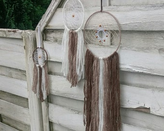 Boho Dreamcatcher set of 3, brown and white with yarn falls, wallhanging homedecor