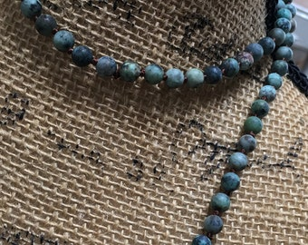 """NEW! 60"""" Pre strung African turquoise knotted necklace strand, 6mm beads,work is done, African turquoise, long or lariat, choker style"""