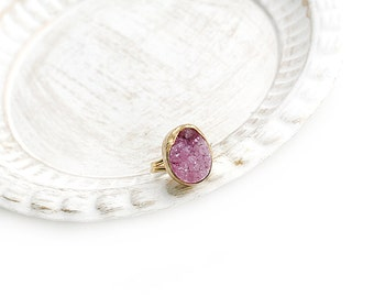 Adjustable Fuchsia Druzy Agate Stone Gold Plated Ring