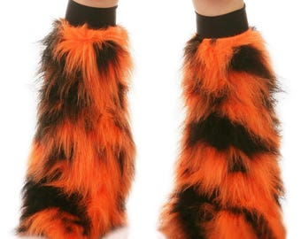 Furry Leg Warmers - Orange Black Fuzzy Boot Covers - Rave Fluffies - TrYptiX Camo Long Pile Faux Fur Boot Covers -