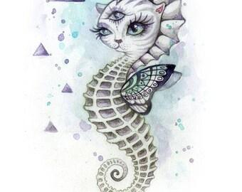 Sea Kitten - small wall print, cat art, small wall art, postcard, hybrid animal, cosmic sea, mini art print, trippy art, cosmic art