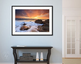 Framed Art, Ocean Photography, Beach Sunset Photo, Little Compton RI Rhode Island Picture Landscape Seascape Print Coastal Decor Blue Orange