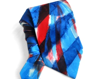 Hand Painted Silk Tie. Gift for Him. British Flag style Handmade Union Jack Flag Necktie for Men Birthday Gift OOAK Tie. MADE2ORDER