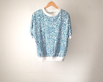 90s KEITH HARING style wild white & teal T-SHIRT