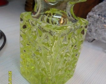 """Antique/EAPG Canary Green Pressed Glass Vessel 4.75""""h x 2""""Wide; mint condition"""