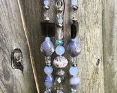 Repurposed Sun Catcher, Crystal Bead Mobile, Upcycled Belt Buckle Craft, Recycled Jewelry Art, Hanging Garden Art, Window Decor, Ornament