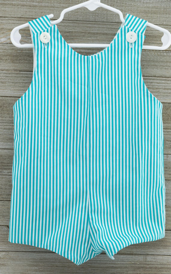 Sample Sale!!! 18 month size. Aqua Stripe Romper. Thisbwould be perfect for a baby shower gift or an outfit for your little man to enjoy thi