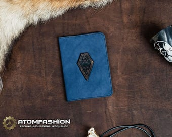 Skyrim passport leather cover in fantasy style