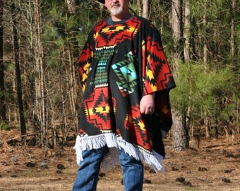 Clint Eastwood Style Poncho In Southwest Print Fleece   Native American Print Fringed