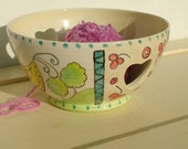 Pottery Yarn Bowl UK Knitting Bowl Handmade - hand painted- - ready to ship