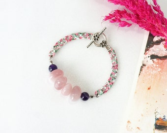 Rose Quartz Bracelet, Soothing Pink Crystal Jewelry with Amethyst Stone Beads, Healing Crystal