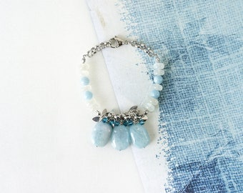 Aquamarine Gemstone and Moonstone Bracelet, March Birthstone Jewelry