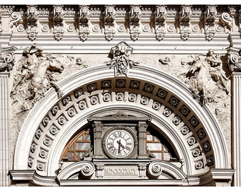 Ornate architecture photography, bas relief art facade photo, large poster, architectural wall decor, living room, neutral art print, 24x36