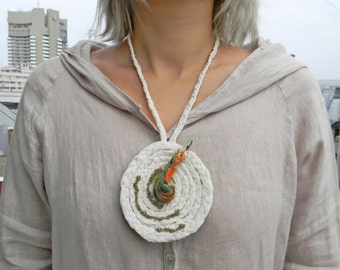 White braided necklace with Big pendant and Amazonite bead Hand painted wooden pendant Abstract Modern jewelry Contemporary Textile jewelry