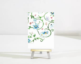 Mini painting, flower pattern, zentangle original art, watercolor with easel,  affordable gift under 25, desk art, blue home decor, birthday