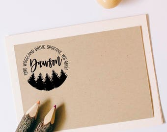 Return Address Stamp, Custom Tree Stamp, Wedding Invitation Stamp, Forest Wedding Stamp, Personalized Address Stamp, Cabin Address Stamp