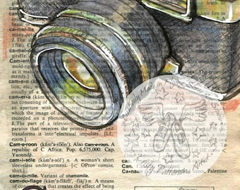 PRINT:  Camera Mixed Media Drawing on Antique Dictionary Page