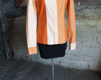ALEXANDER McQUEEN 1990's Mod Colour Blocked Paneled Cotton Shirt in Orange & Peach