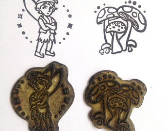 PAIR Destash Silicon Rubber Stamp Peter Man and Mushroom toadstool