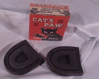 Advertising Box CAT'S PAW Rubber Heels Child's Shoes with Product - Vintage