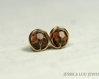 Gold Brown Swarovski Crystal Stud Earrings Wire Wrapped Jewelry Swarovski Crystal Jewelry Brown Earrings Brown Jewelry Rose Gold Earrings