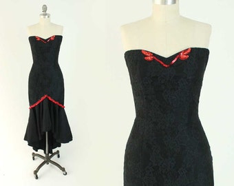 Vintage 80s Strapless Prom Dress - Black Lace Sweetheart Neckline Formal Party Gown w/ Mermaid Skirt by Jessica McClintock Gunne Sax - XS