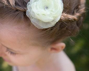 FLOWER HAIR CLIP with Swarovski crystals - Cream Organza