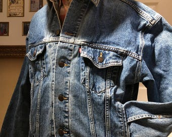 Mens Vintage Denim Trucker Jacket, Levi Blue Jean Coat