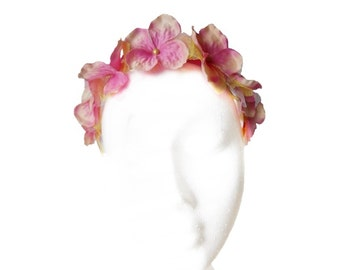 Flower headband with fabric hydrangeas and tulle. Flower crown. Pink headband. Green headband. Bridesmaid headband. Bridal hair. FC#02
