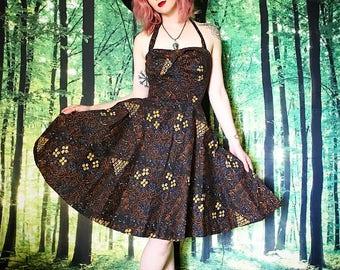 1950s Pinup Girl Sweetheart Halter Brown Yellow Floral Circle Skirt Dress