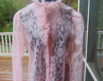 Vintage Lady McAllister Peach Lace Sheer Blouse, Ruffles, Size 14