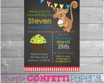 Monkey Birthday Invitation, Monkey Party, Chalkboard, Monkey Invitation, Monkey Invite, Monkey Birthday, Boy Birthday, Red, Printable, 5x7