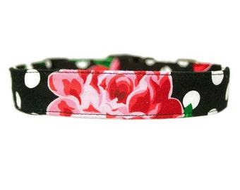 Black Polka Dot Floral Dog Collar w/Optional Flower Accessory