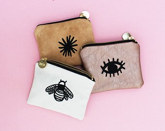 Eye Embroidered Coin Purse - Pattern Money Pouch - Genuine Leather