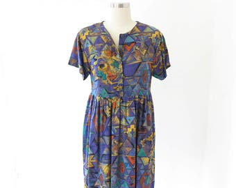 90s vintage babydoll dress// purple print summer dress// small medium