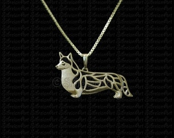 Pembroke Welsh Corgi (with a tail) - Gold pendant and necklace.