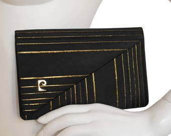 PIERRE CARDIN 1960s Vintage Evening Clutch Handbag Black Silk Metallic Gold Handmade