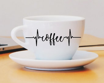 Coffee Heartbeat Monitor Custom Mug Decal, Coffee Mug Decal, Coffee Cup Decal, Custom Coffee Mug, Vinyl Decal, Yeti Decal, Doctor Nurse Gift