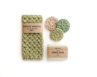 Gift set, soap , washcloth, face scrubbies,  Homemade soap, Gift for Her, Gift for him, Gift for Girlfriend, Handmade soap, birthday gift