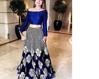 Blue Velvet Lehenga Choli with Zari Embroidery- Indian, Pakistani, Bollywood Blue Lehenga Choli, Stitched 3-pc, Elan