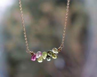 Tourmaline Row Necklace. Faceted Gemstones. Delicate Layering Tourmaline Necklace. Gold Fill Jewelry. October Birthstone. Pink and Green
