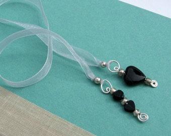 Jeweled Ribbon Bookmark, Black Onyx Semi Precious Stone Hearts, Silver Organza Ribbon, Silver Wire Pendants, Handmade, Booklovers Gift