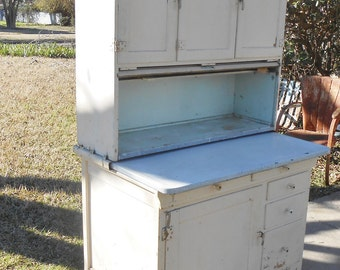 Antique Sellers Hoosier Farmhouse Cupboard Kitchen Cabinet Chippy Paint Shabby Chic Cottage Decor