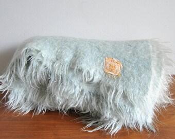 Hudson Bay Company Mohair Wool Blanket in Light Blue / Mint