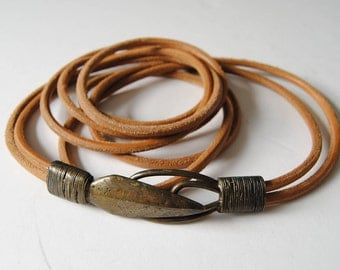 Vintage Leather Belt with Bronze Arrow Head Double Wrap Thin