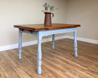 Farm Style Table - Farm Kitchen Table - Wooden Dining Table - Rustic Dining Table - Distressed Painted Furniture - Expandable Dining Table